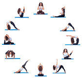 Collage of young beautiful fitness girl doing yoga. Exercise isolated on white in the form of a round clock face royalty free stock photo