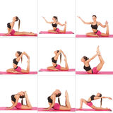 Collage of young beautiful girl posing yoga on white. Studio Royalty Free Stock Photo