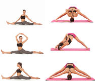 Collage of young beautiful girl posing yoga on white Royalty Free Stock Image