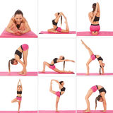 Collage of young beautiful girl posing yoga on white Stock Photography