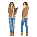Collage, Young beautiful girls in a leather sheepskin coat and b Stock Photos