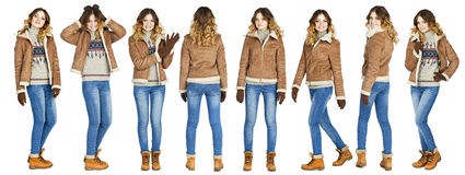 Collage, Young beautiful girls in a leather sheepskin coat and b Royalty Free Stock Image