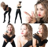 Collage with young beautiful sensuality woman composed of different images isolated Royalty Free Stock Photos