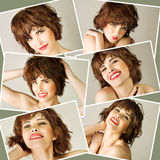 Collage with young beautiful woman Royalty Free Stock Image