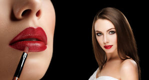 Collage of young beautiful woman apply red lipstick on lips with. Closeup photo of lips with brush side view on black background Royalty Free Stock Photos