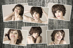 Collage with young beautiful woman Stock Photo