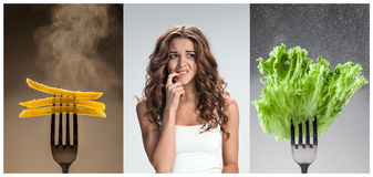 The collage of young beautiful woman with healthy and harmful meal Royalty Free Stock Photography