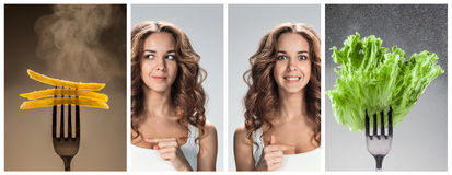 The collage of young beautiful woman with healthy and harmful meal Royalty Free Stock Images