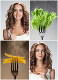 The collage of young beautiful woman with healthy and harmful meal Royalty Free Stock Photo