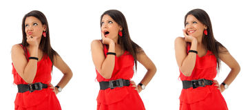 Collage of Young brunette girl gesturing with face Stock Image