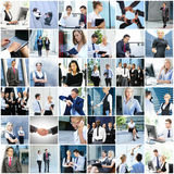 Collage of young business people stock images