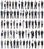 Collage of young business people standing in a row. stock photos