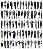 Collage of young business people standing in a row. stock image