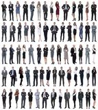 Collage of young business people standing in a row. royalty free stock photos