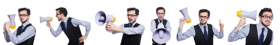 The collage of young businessman with loudspeaker on white. Collage of young businessman with loudspeaker on white Royalty Free Stock Photos