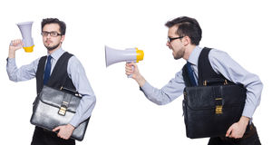 The collage of young businessman with loudspeaker on white Royalty Free Stock Photos