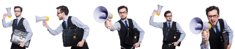 The collage of young businessman with loudspeaker on white. Collage of young businessman with loudspeaker on white Stock Photography