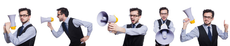 The collage of young businessman with loudspeaker on white. Collage of young businessman with loudspeaker on white Royalty Free Stock Images