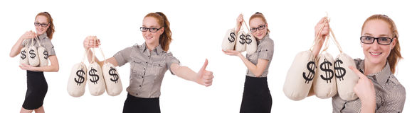 The collage of young businesswoman with money sacks on white Royalty Free Stock Photos