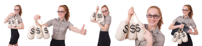 The collage of young businesswoman with money sacks on white Stock Images