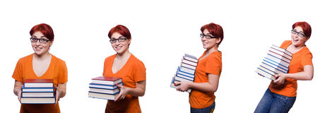 The collage of young female student on white Royalty Free Stock Photo