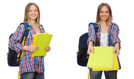 The collage of young female student on white. Collage of young female student on white Stock Image