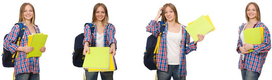The collage of young female student on white. Collage of young female student on white Stock Photography