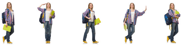 The collage of young female student on white. Collage of young female student on white Stock Photo