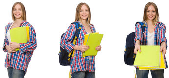 The collage of young female student on white. Collage of young female student on white Royalty Free Stock Images