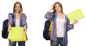 The collage of young female student on white. Collage of young female student on white Royalty Free Stock Photography
