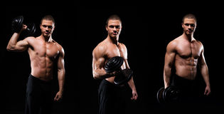 Collage of a young and fit bodybuilder man Royalty Free Stock Photos