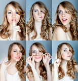 Collage of a young girl Royalty Free Stock Images