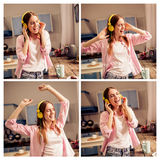 Collage of young girl listening to music, dancing. Funny female enjoying favorite song, dancing in the kitchen Stock Image