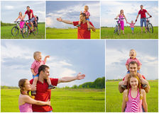 Collage of happy family Royalty Free Stock Images
