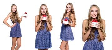Collage of young happy woman with a gift in the box Stock Photography