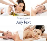 Collage with young and healthy girls relaxing in spa salon. Girl getting traditional oriental aroma therapy and. Collage with young and healthy women relaxing in Stock Photo