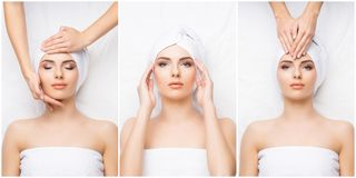 Collage with young and healthy woman relaxing in spa salon. Girl getting traditional oriental aroma therapy and Royalty Free Stock Photo