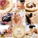 Collage with young and healthy woman relaxing in spa salon. Girl getting traditional oriental aroma therapy and Royalty Free Stock Image