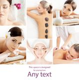 Collage with young and healthy girls relaxing in spa salon. Girl getting traditional oriental aroma therapy and. Collage with young and healthy women relaxing in Royalty Free Stock Photo