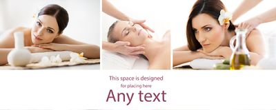 Set with young and beautiful girls relaxing in spa. Woman in massaging salon. Traditional oriental therapy and massaging Royalty Free Stock Photography