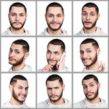 Collage of young man with different emotions Stock Images