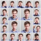Collage of young man expressing different emotions Stock Images