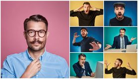 Collage from images of a young man expressing different emotions royalty free stock photo