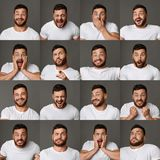 Collage of young man expressions and emotions. Collage of young man expressing different positive and negative emotions royalty free stock photography