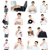Collage of a young man with office objects Royalty Free Stock Images
