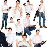 Collage of young man with office objects isolated Royalty Free Stock Photos