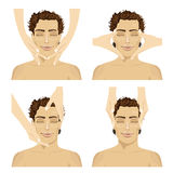 Collage of young man in spa salon getting facial massage Royalty Free Stock Image