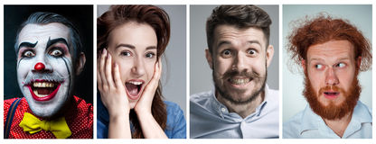 The collage of young man and woman face expressions Stock Photography