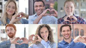 Collage of young people making heart with hands stock video