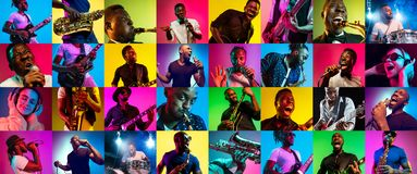 Collage of young people in neon light on multicolored background stock images